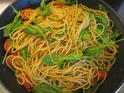 Spagetti med tomater & rucola