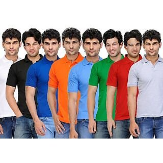 TSX Exquisite Cotton Blend Multi Color Polo T-Shirt Pack Of 8 (886)