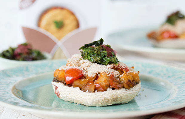Stuffed Mushrooms with Seaweed Gremolata Topped with Gluten Free Brown Rice Breadcrumbs