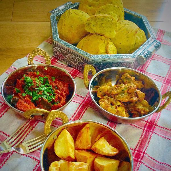 Auberjine Madras, Onion Bhajis and Spiced Bread Rolls