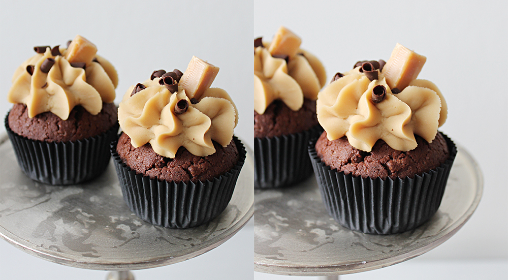 Salty caramel and chocolate cupcakes