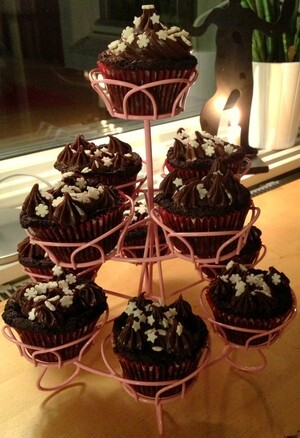 Delicious chocolate cupcakes med nutella frosting