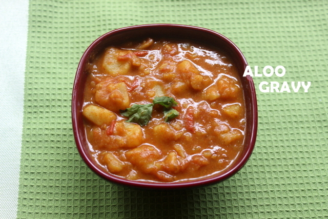 Aloo gravy or potato curry recipe – no onion no garlic recipe – side dish for rotis