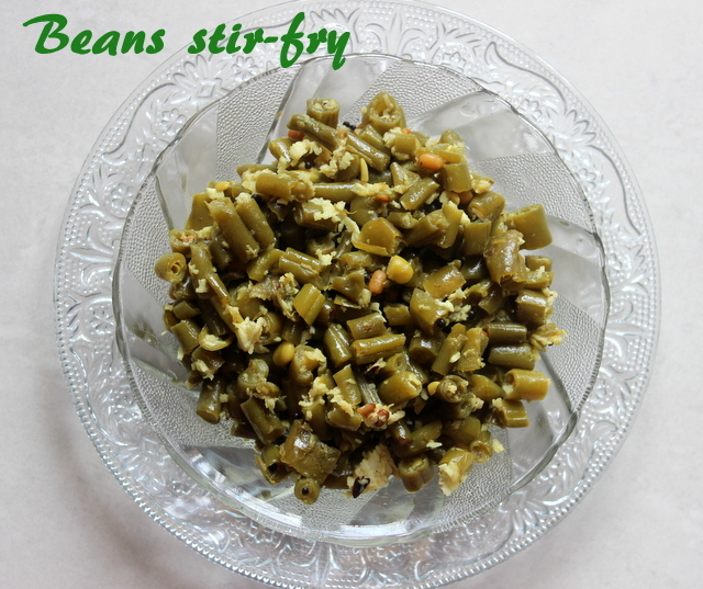 French beans stir-fry recipe – how to make beans palya or beans poriyal recipe – south indian style