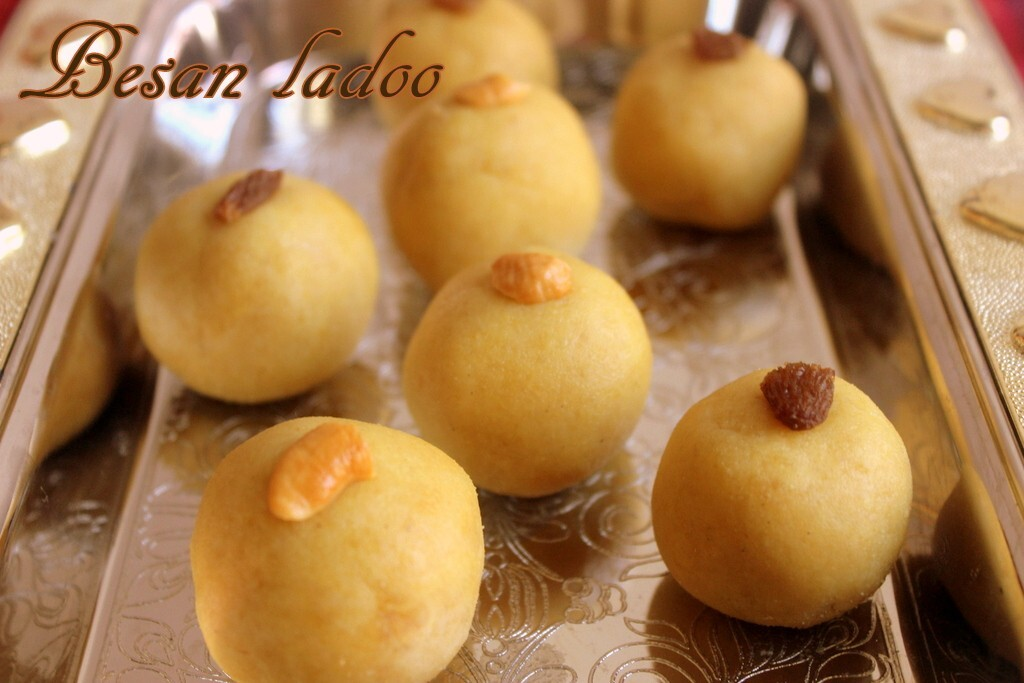 Besan ladoo recipe – How to make besan ladoo with khoya/mawa recipe – Diwali sweets