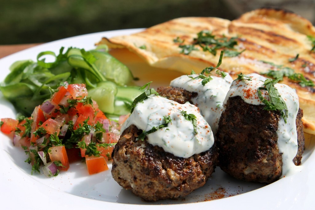 Lebanese style meatballs with grilled flatbreads and yoghurt dressing