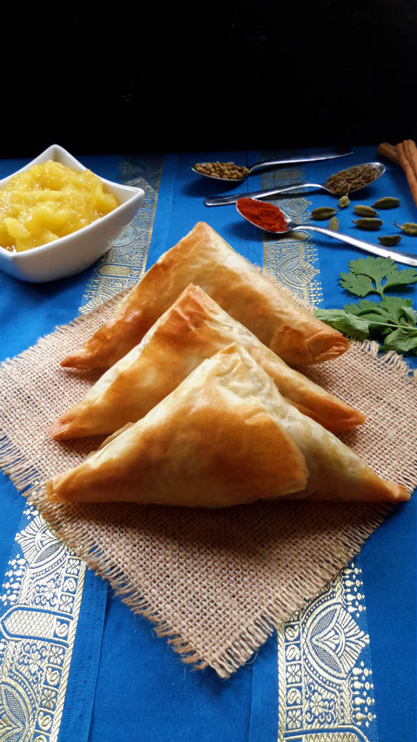 Easy Potato Samosas with Simple Mango Chutney