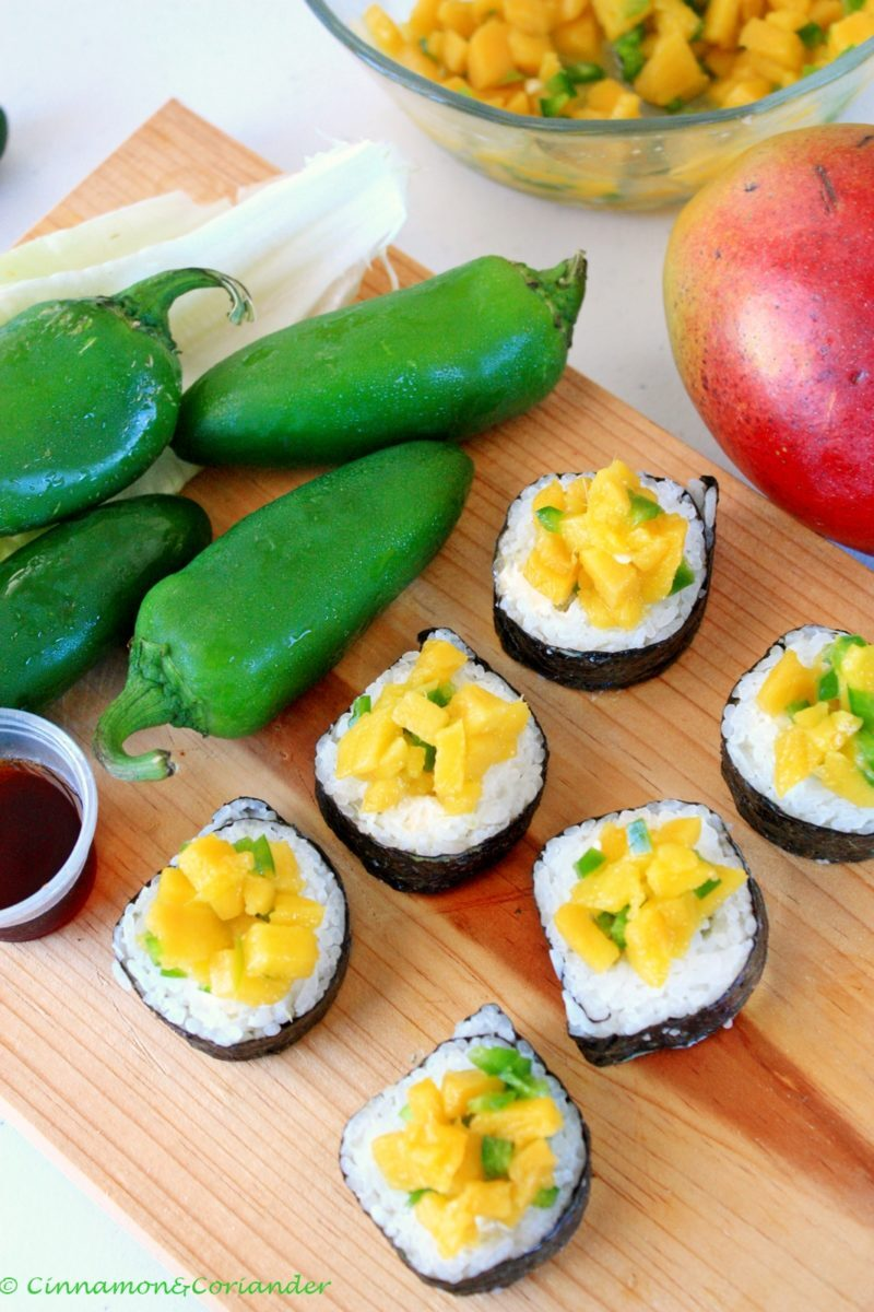 Latin Fusion Sushi with Cream Cheese, Avocado & Mango Jalapeño Topping