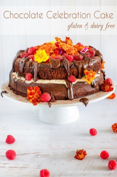 Gluten and dairy free chocolate celebration cake