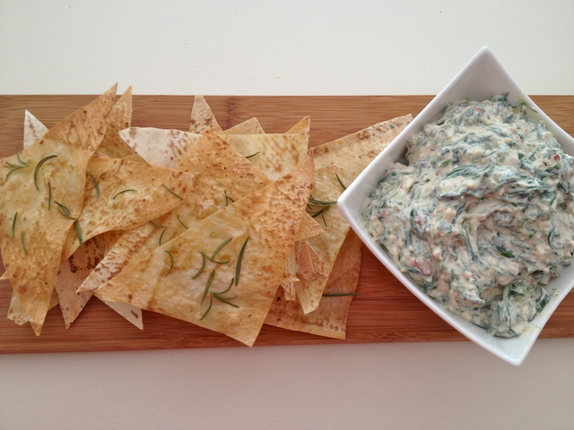 Spinach Dip with Homemade Rosemary & Garlic Chips - Recipe from ...