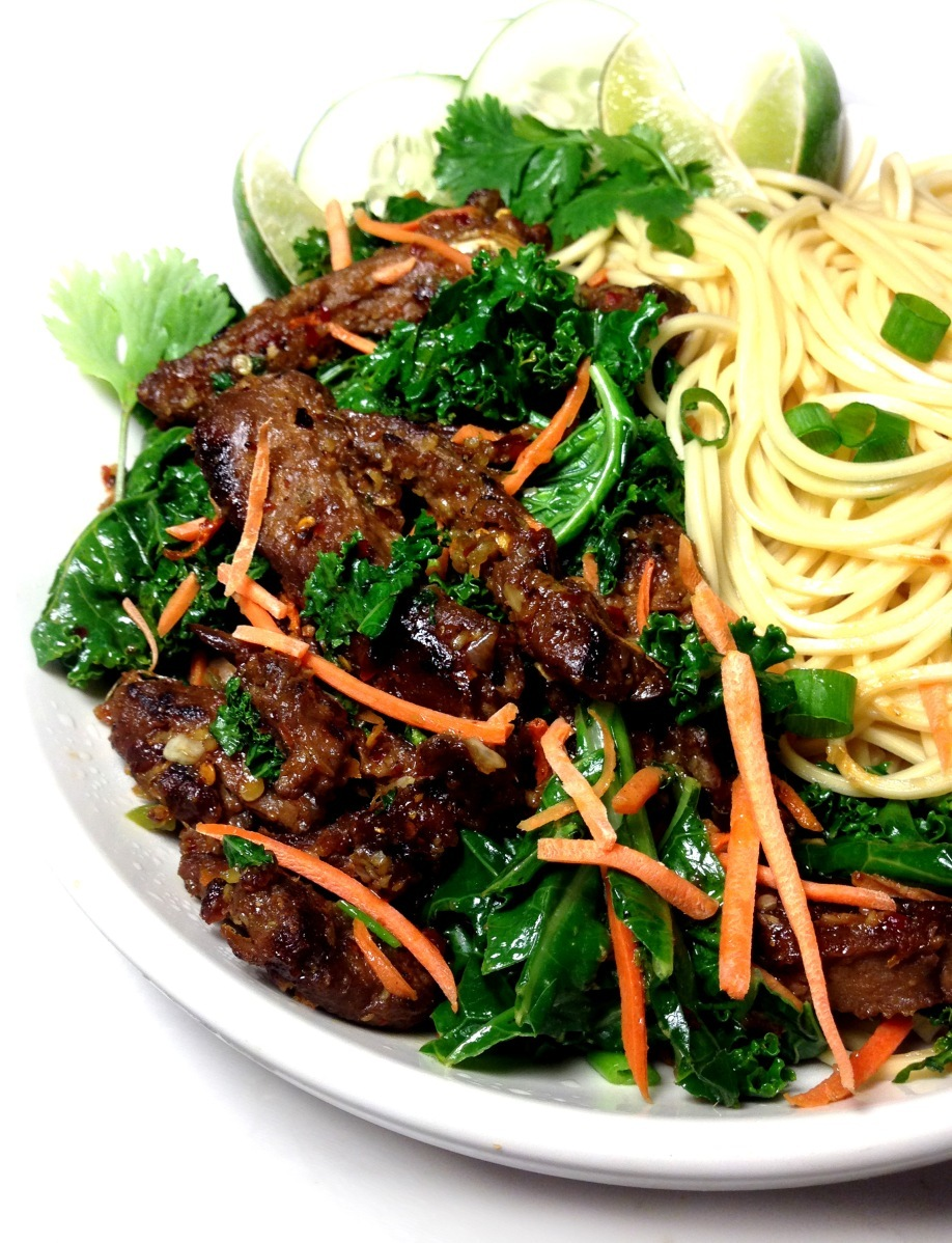 Vegan Spicy Ginger Beef with Ramen Noodles and Kale