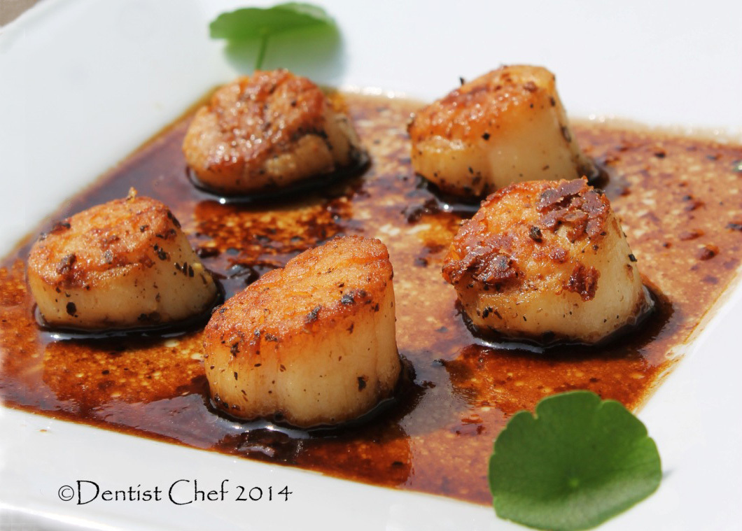 Seared Scallops in Herbs Brown Butter with Balsamic Vinegar and Mushroom Soy Sauce Reduction