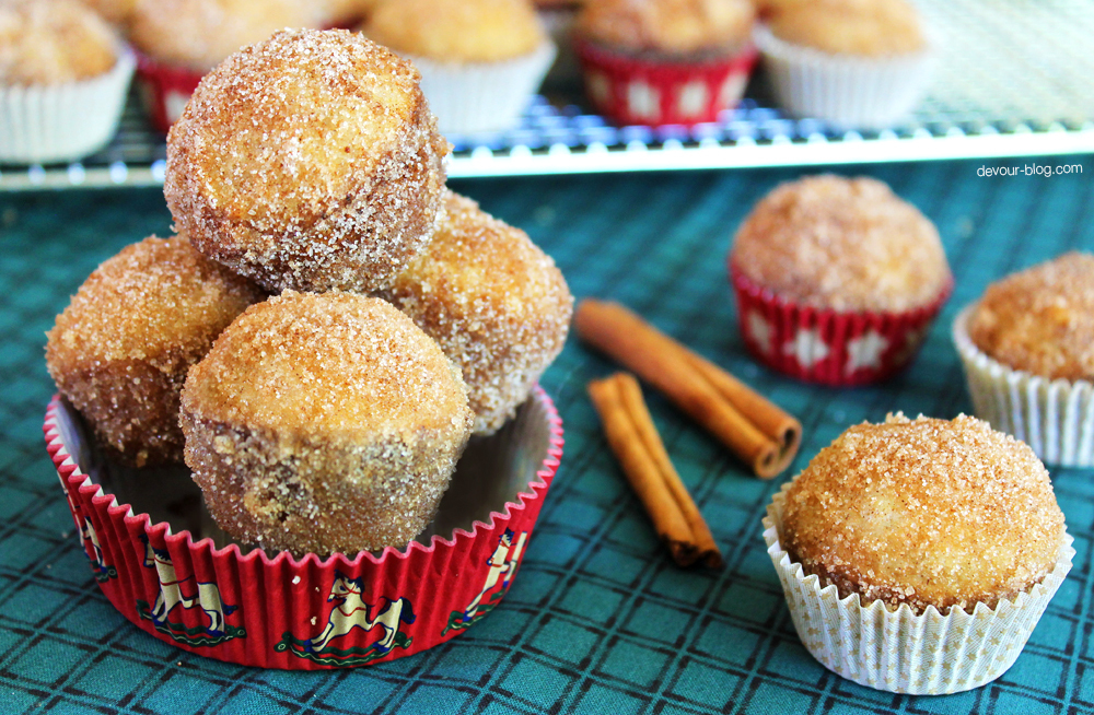 Mini Donut Muffins with Bourbon Butter and Cinnamon Sugar