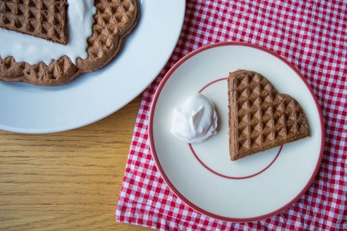 Chocolate Oat Waffles with Coconut Whip (vegan, gluten free, low fodmap)