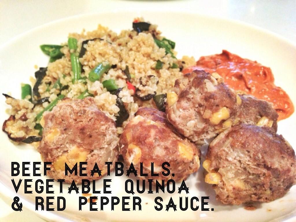 Recipe: Healthy beef meatballs with Red Pepper Sauce