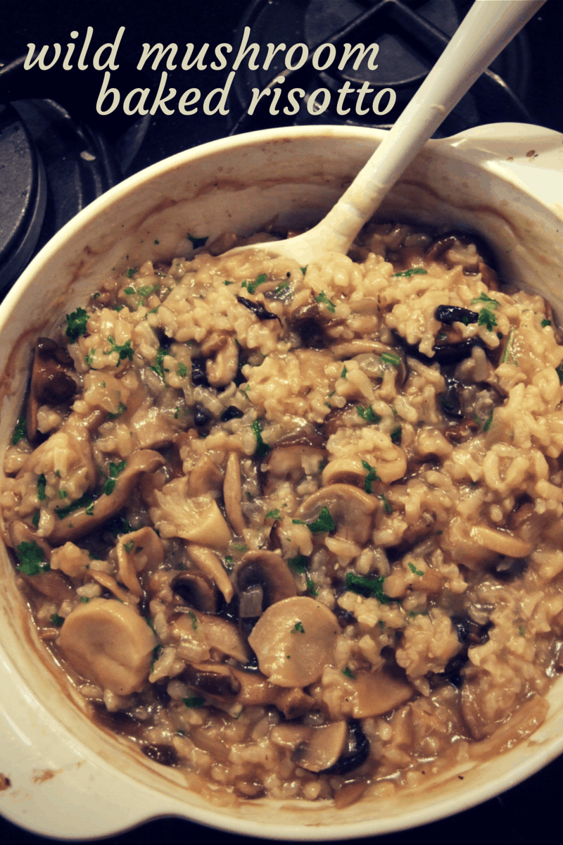 Wild mushroom baked risotto