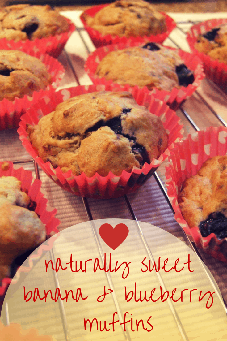 Naturally sweet banana & blueberry muffins – no added sugar!
