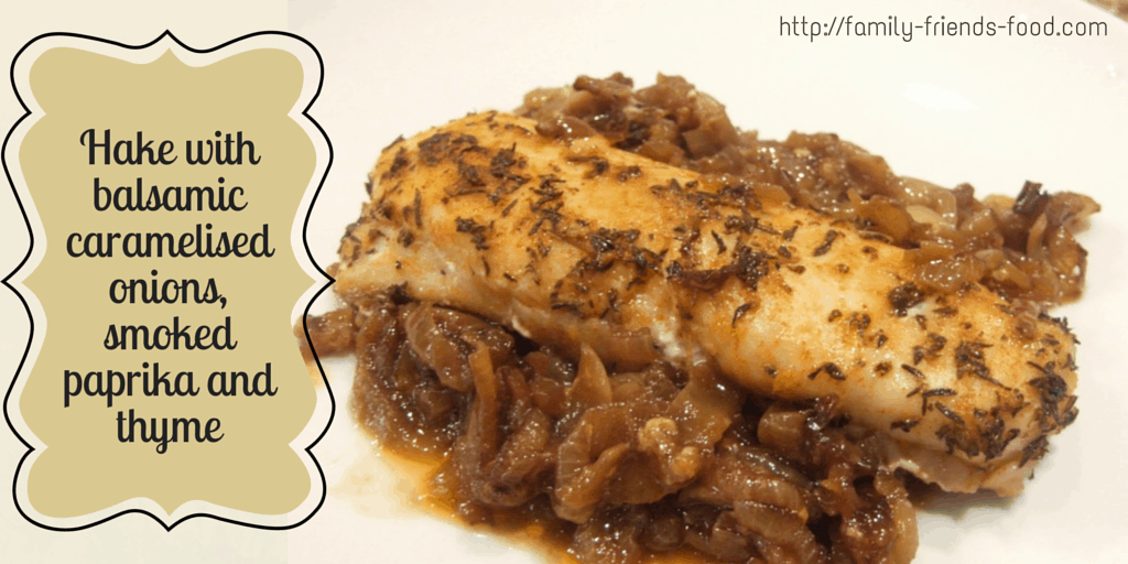 Hake with balsamic caramelised onions, thyme & smoked paprika