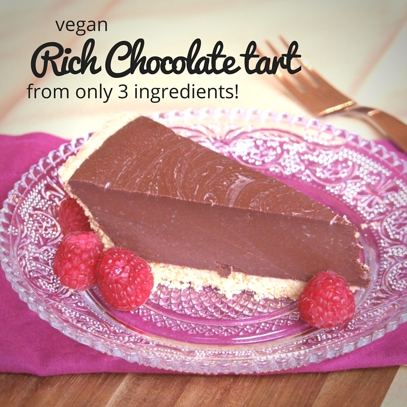 Vegan rich chocolate tart from 3 ingredients!