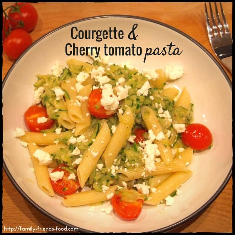Quick courgette and cherry tomato pasta with feta
