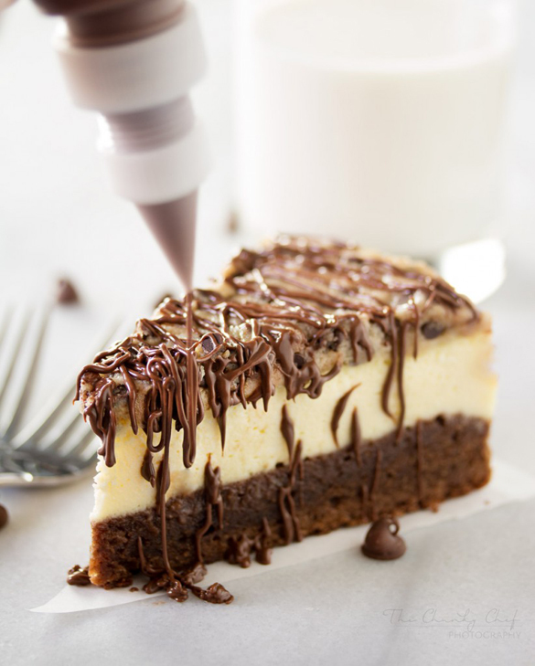 Brownie Bottom Cookie Dough Cheesecake