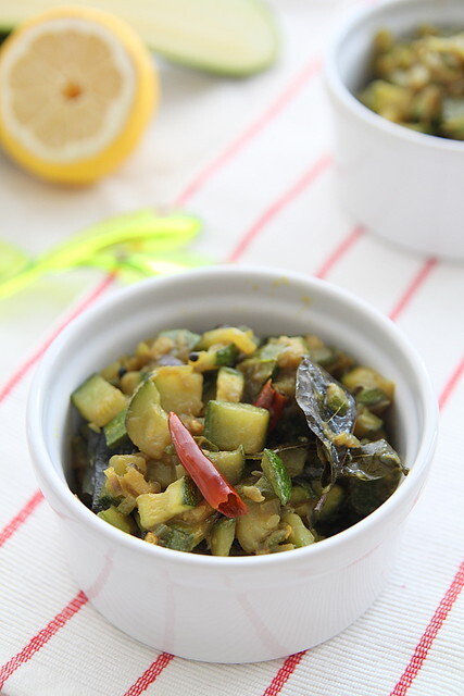 Zucchini mezhukkupuratti (zucchini stir fried with Indian spices)