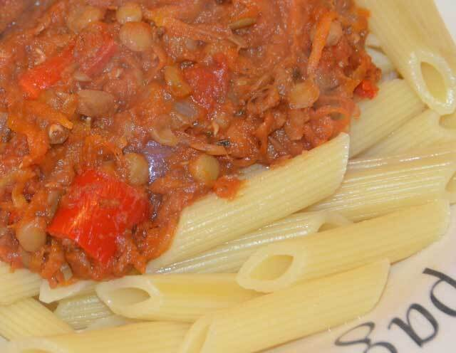 quorn and lentil bolognese
