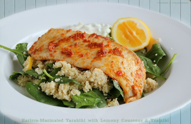 Harissa-Marinated Tarakihi with Lemony Couscous & Tzatziki
