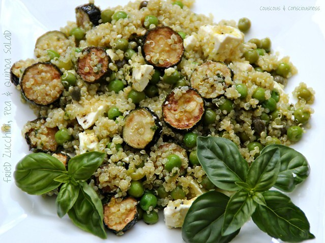 Fried Zucchini, Pea & Quinoa Salad for Cookbook Sundays
