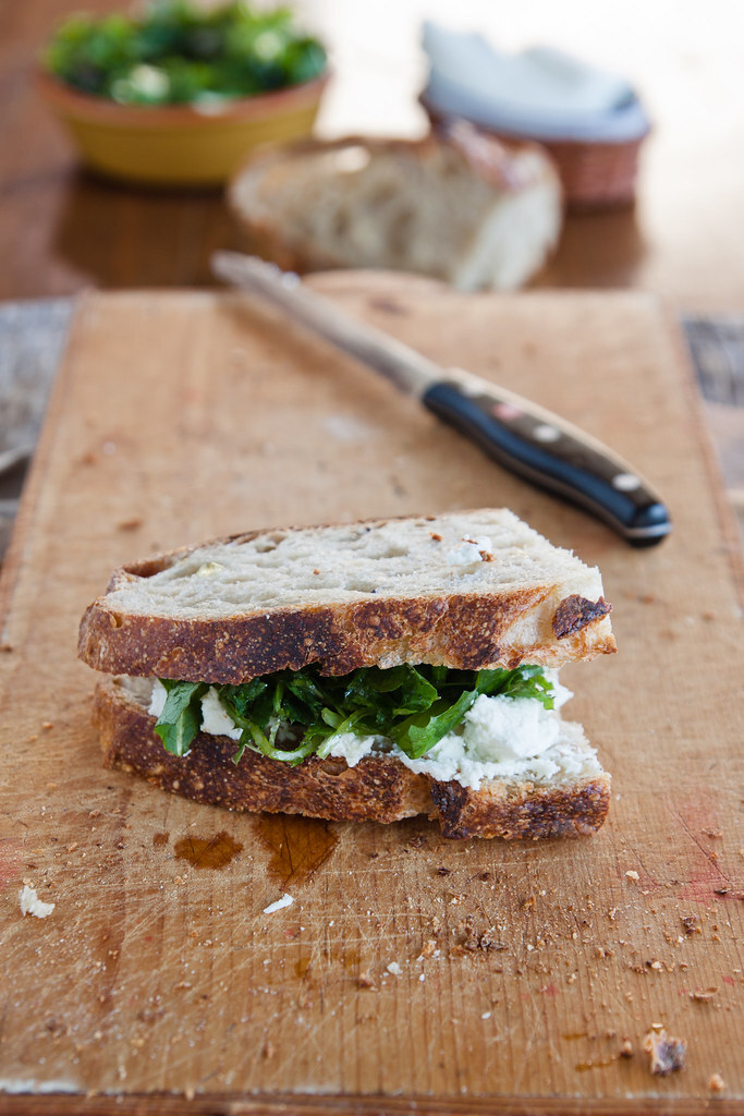 A foodblogger sandwich: field salad, buffalo fresh cheese and sourdough country bread