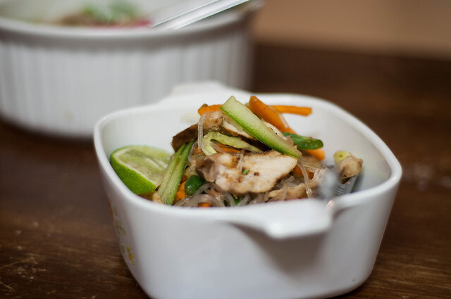 vermicelli bean salad with marinated chicken