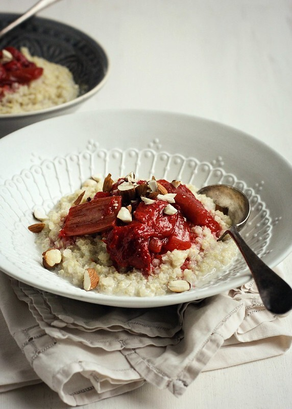 quinoa porridge w/ roasted strawberry rhubarb compote recipe
