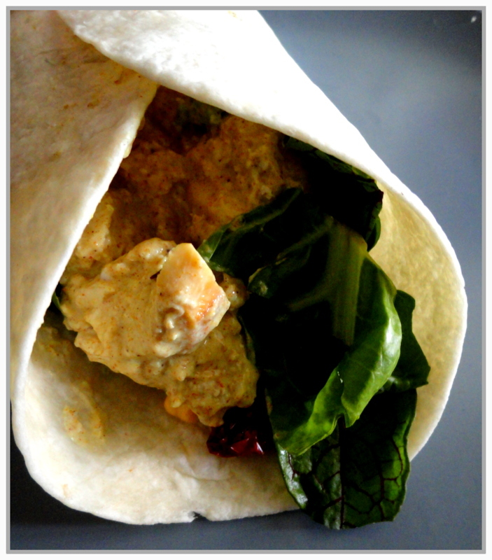 Coronation Chicken and Vegetable wrap (Day 8: supper)