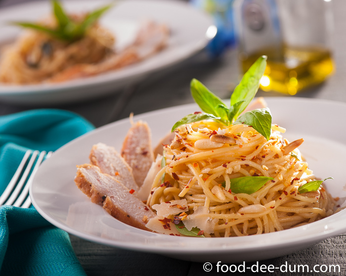 Lemony Garlic Spaghetti with Grilled Chicken & Pine Nuts