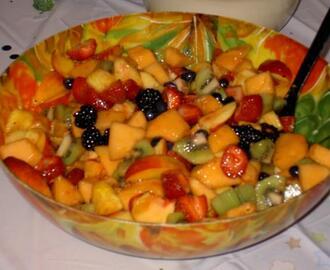 fruit salad with honey ginger lime dressing all fruit should