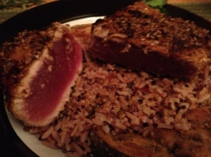 Walking and Tuna Steaks with Baked Eggplant