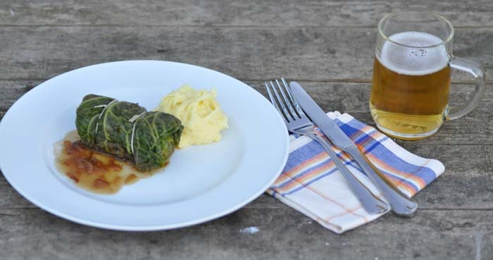 "cabbage roll, ""krautwickel"" or ""kohlroulade"" with mashed potatoes"