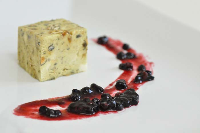 pumpkin seeds parfait with elderberry compote