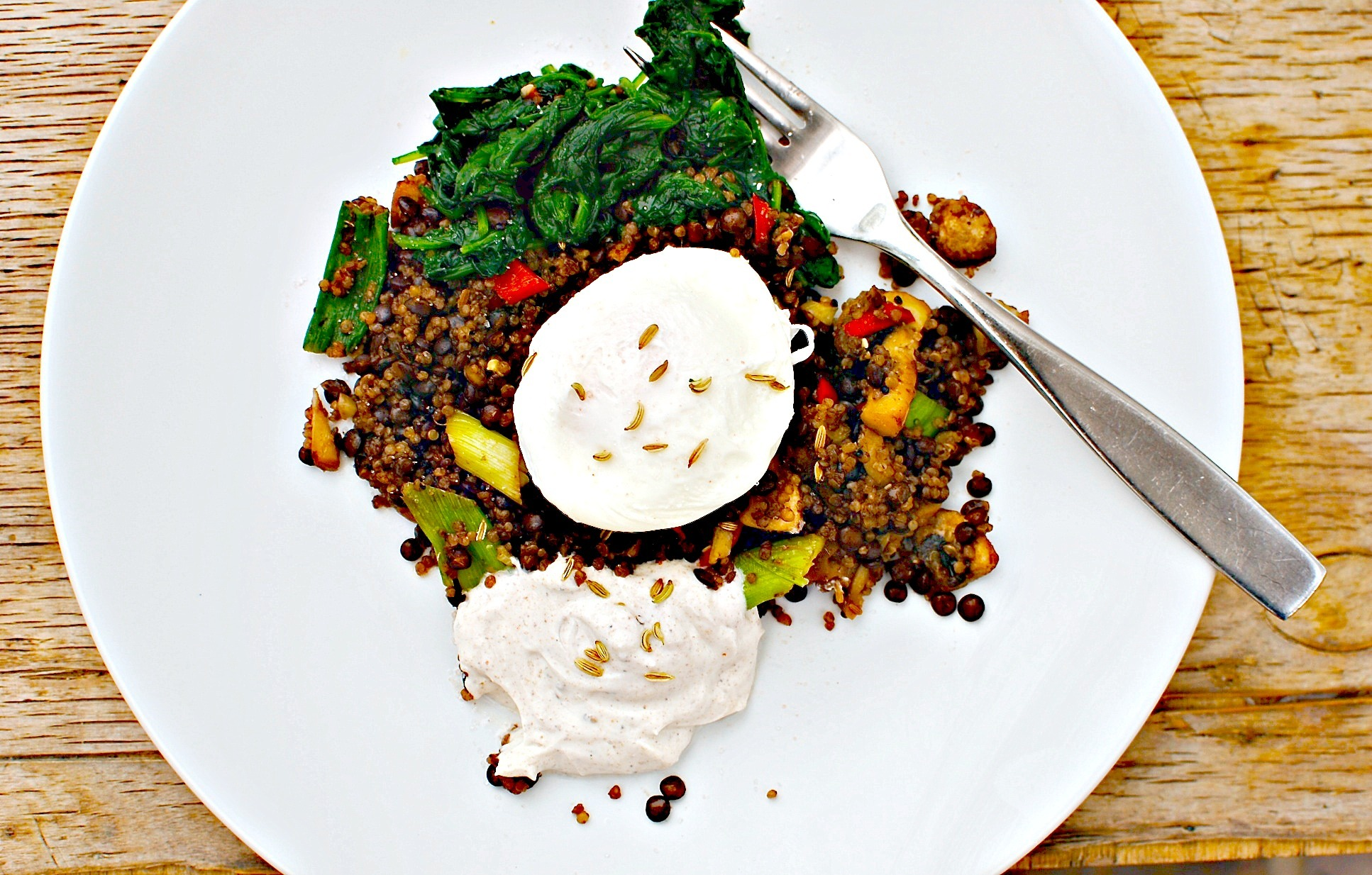 Baharat Quinoa, Lentils and Eggy Breakfast (or Lunch or Supper!)