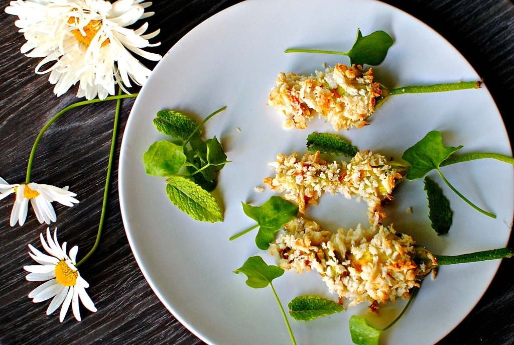 Panko-Crusted Baked Squash Blossoms with Garden Herb Ricotta