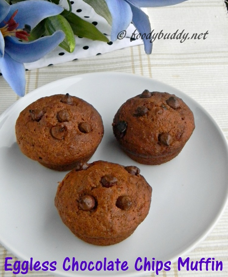 Eggless Chocolate Chips Muffins / Double Chocolate Muffins