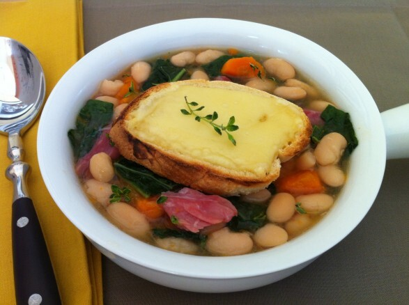 White Bean Soup with Kale and Cheese Toast  (Slow Cooker)