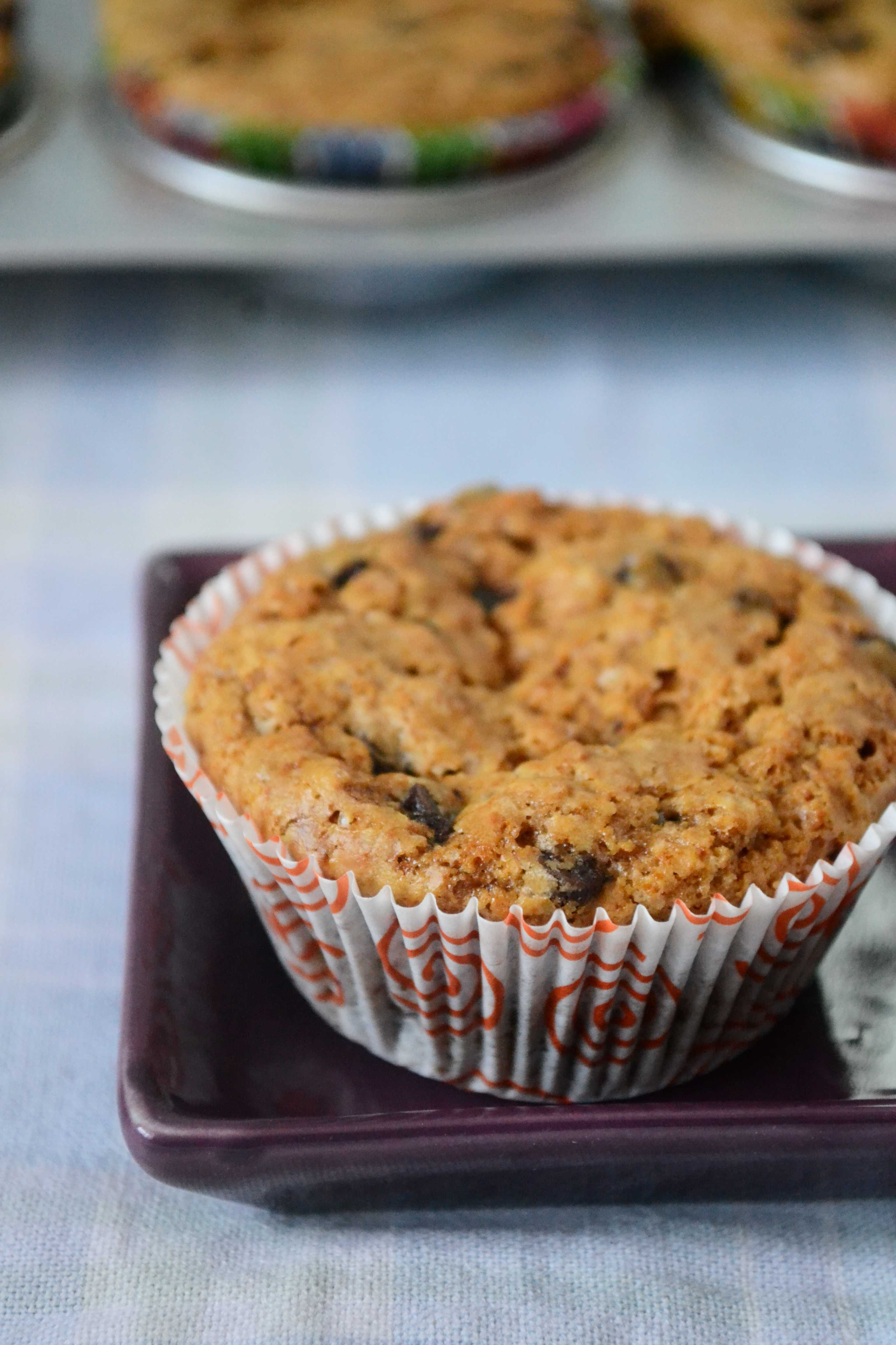 Eggless Peanut Butter Choco Chip Oats Muffins