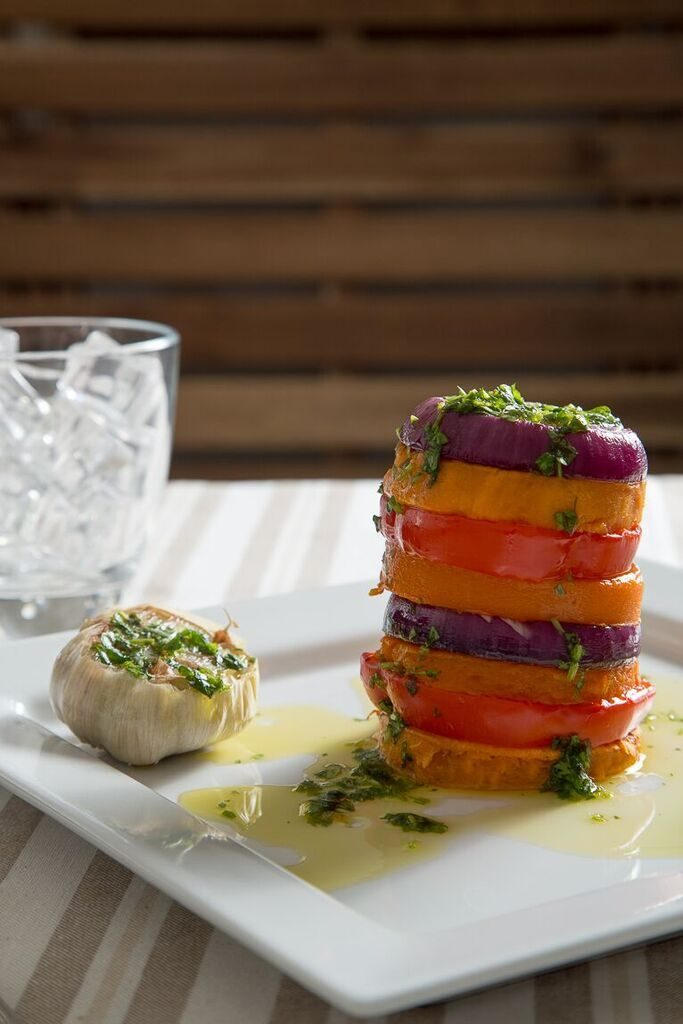 Roasted Vegetable Stack with Garlic, Lemon & Coriander Oil
