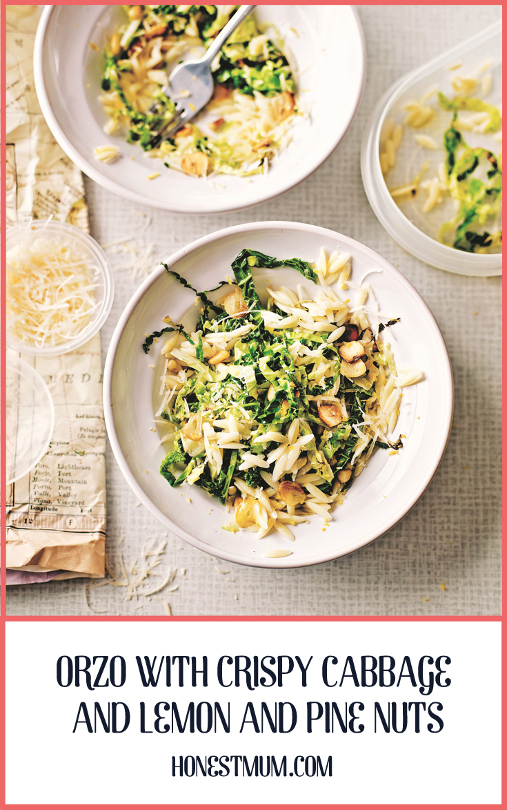 Orzo With Crispy Cabbage and Lemon and Pine Nuts