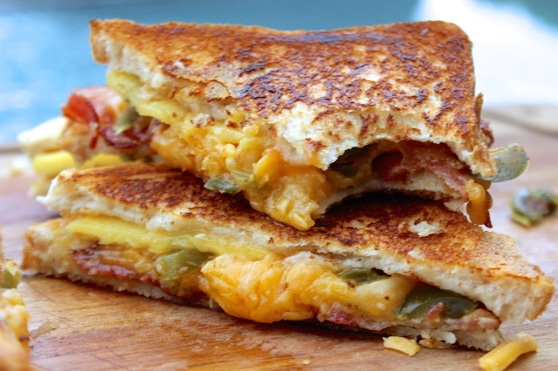 Peach, Jalapeño and Bacon Grilled Cheese Sandwich a.k.a Twisted Grilled Cheese