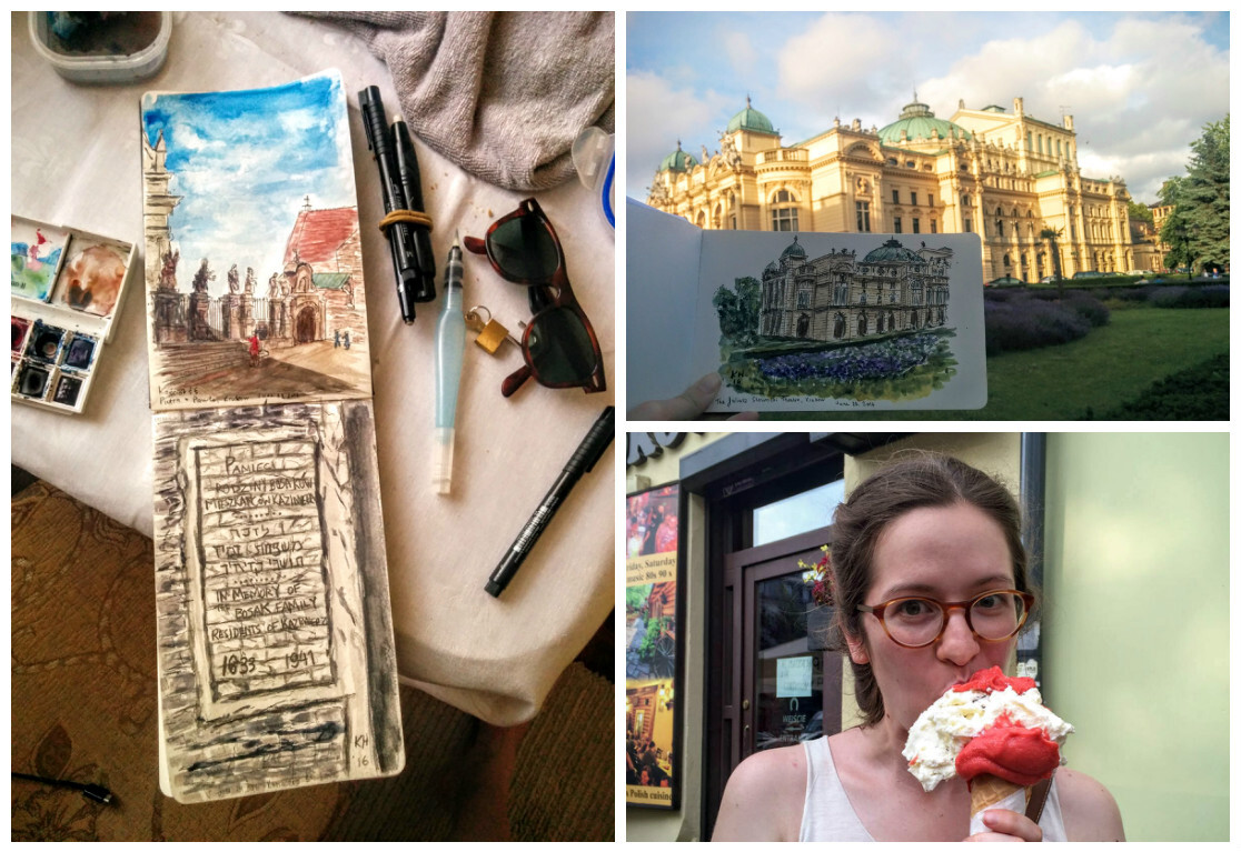 Krakow, Watercolour Sketching, and Ice cream