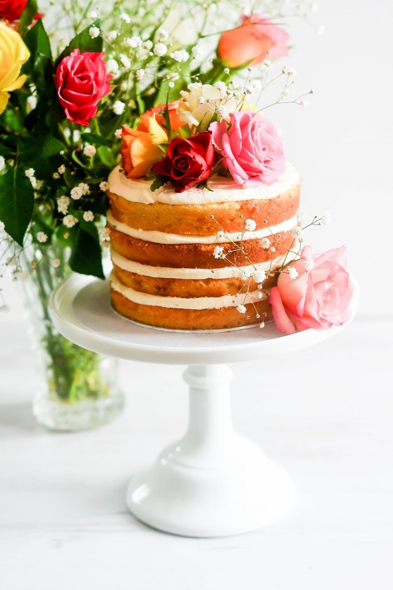 How To Make A Floral Naked Vanilla Cake