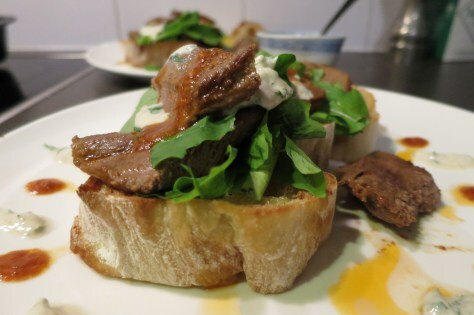 Spicy Lamb on garlic Crostini with minted yoghurt