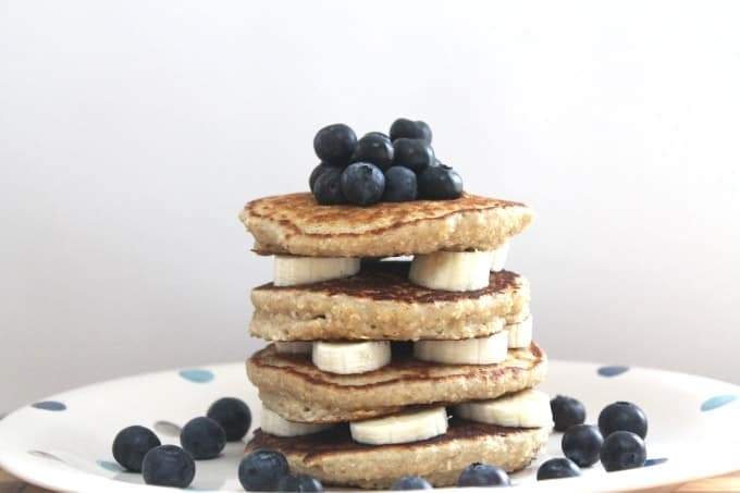 Oat Pancakes with Banana & Blueberries
